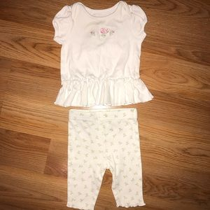 First Impressions White & Pink Floral Matching Set
